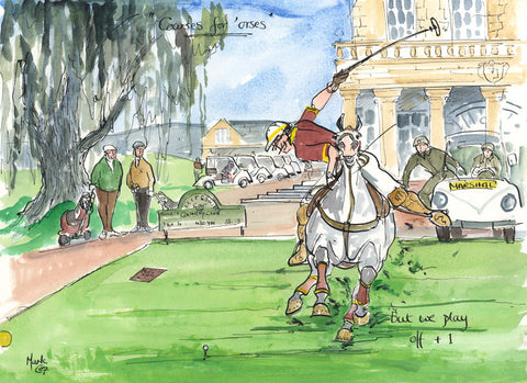 Courses For 'orses - polo art print by Mark Huskinson