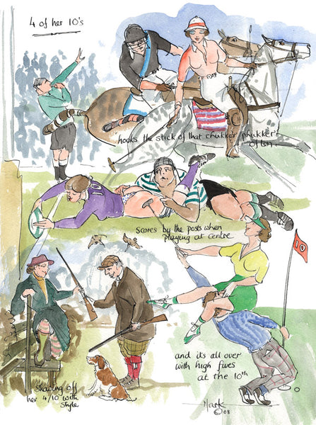 4 Of Her 10's - sporting cartoon art print by Mark Huskinson