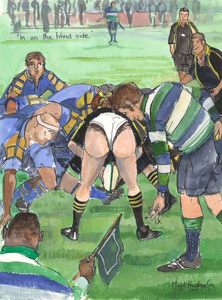 In On The Blind Side - rugby art print by Mark Huskinson