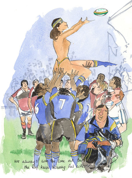We Always Win The Line Out - rugby art print by Mark Huskinson