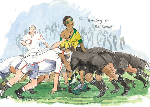 Handling In The Scrum - rugby art print by Mark Huskinson