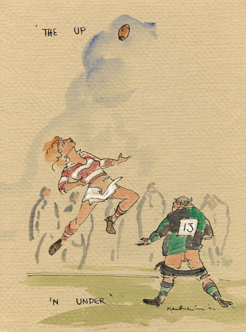 The Up 'N Under - rugby art print by Mark Huskinson