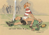 And Scored Between The Posts - rugby art print by Mark Huskinson