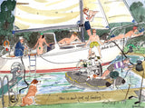 Our Sort Of Sailing - sailing cartoon art print by Mark Huskinson