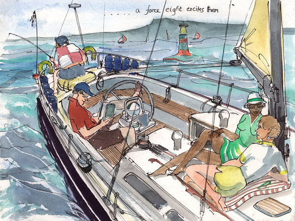A Force Eight Excites Them - sailing cartoon art print by Mark Huskinson