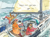 Ready To Crash Gybe Ladies - sailing cartoon art print by Mark Huskinson