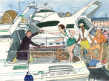 Competent Crew - sailing cartoon art print by Mark Huskinson