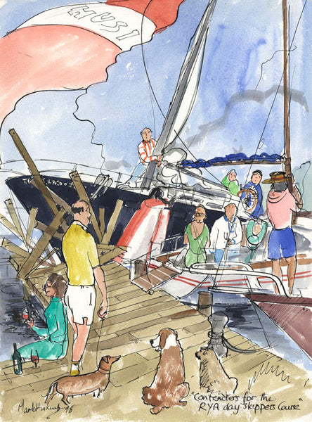 Contenders For The RYA Day Skippers Course - sailing cartoon art print by Mark Huskinson