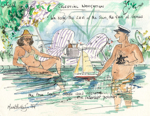 Celestial Navigation - sailing cartoon art print by Mark Huskinson