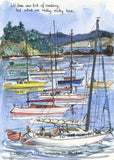 Sweating On The Sheets - sailing cartoon art print by Mark Huskinson