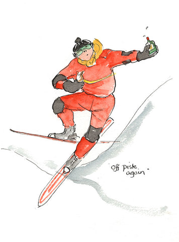 Off Piste Again - skiing art print by Mark Huskinson