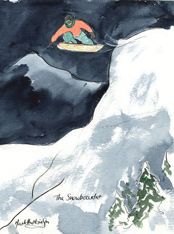 The Snowboarder - snowboarding art print by Mark Huskinson