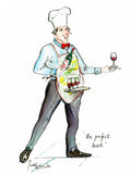 The Perfect Host - wine cartoon art print by Mark Huskinson