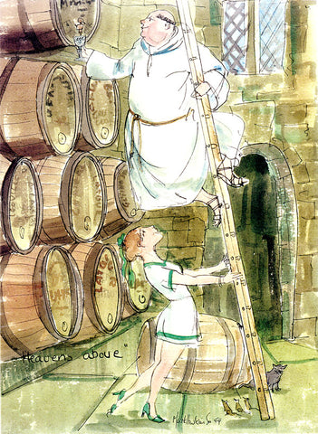 Heavens Above - wine cartoon by Mark Huskinson