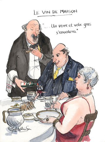 Le Vin De Maison - wine cartoon by Mark Huskinson