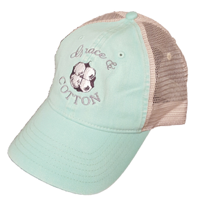 Island Reef/Ivory Trucker Hat - Grace and Cotton