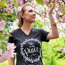 "Load image into Gallery viewer, ""He is my Peace"" - Heather Gray Vneck - Grace and Cotton"