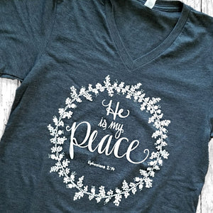"""He is my Peace"" - Heather Gray Vneck - Grace and Cotton"