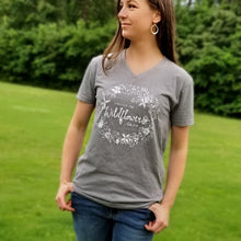 "Load image into Gallery viewer, ""Consider the Wildflowers"" V-Neck Tee - 2 Colors - Grace and Cotton"