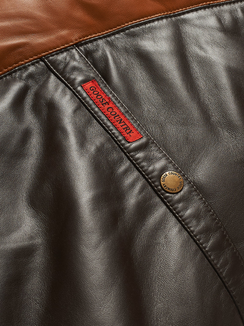 Goose Country V-Bomber Two-Tone: Brown/Tan Leather