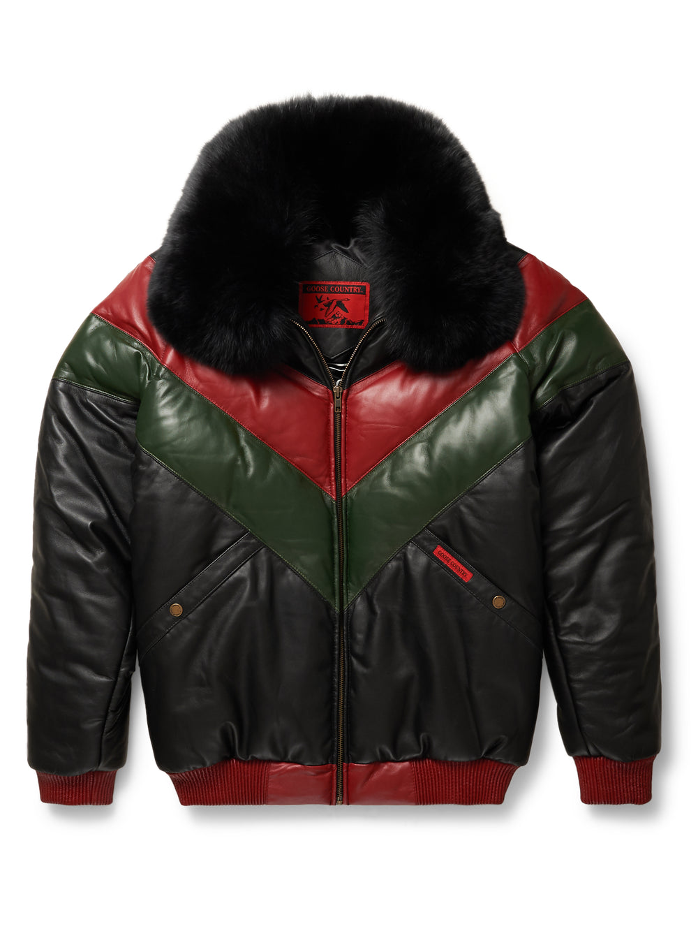 721cd0be846 Goose Country V-Bomber Leather Jacket Two-Tone: Red/Green/Black ...