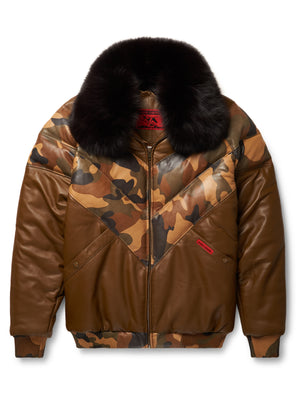 Goose Country V-Bomber Two-Tone: Brown/Camo Leather
