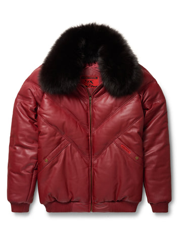 Black By Goose Country MA-1: Red Leather