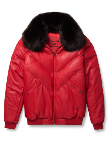 Goose Country V-Bomber: Nylon Black w/ Crystal Fox Fur
