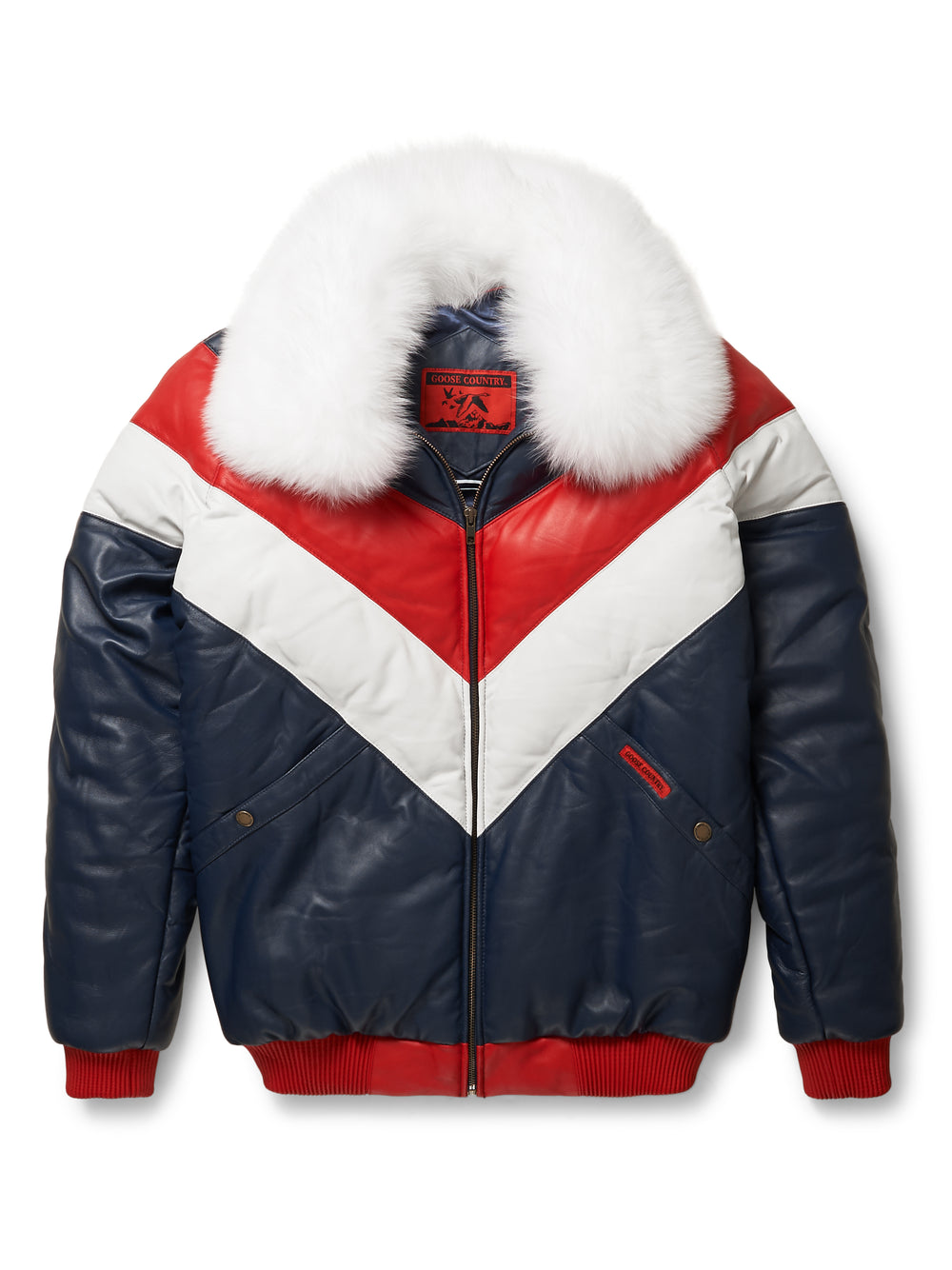 9a408a4a916 Goose Country V-Bomber Leather Jacket Two-Tone: Red/White/Blue ...