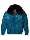 Goose Country V-Bomber: Black Leather w/ Black Fox Fur