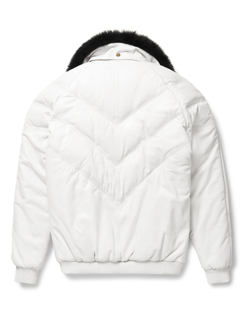 Goose Country V-Bomber: White Leather
