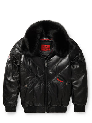 Men's V-Bomber Black w/Black Fox Fur