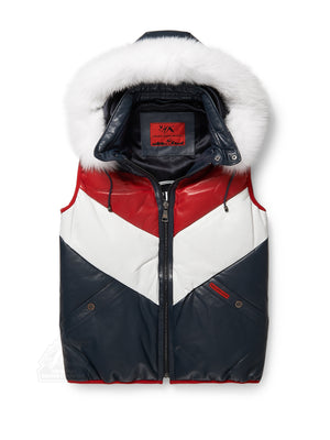 Mens Bubble V-Vest Red/White/Blue w/ Hood