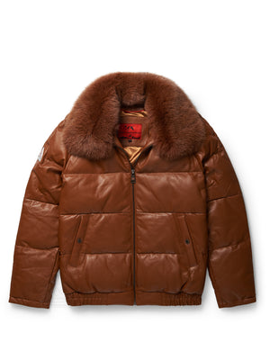 Men's Straight Bubble Jacket Cognac w/ Fox Fur