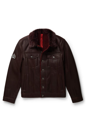 Men's Sheepskin Shearling Jean Jacket Burgundy