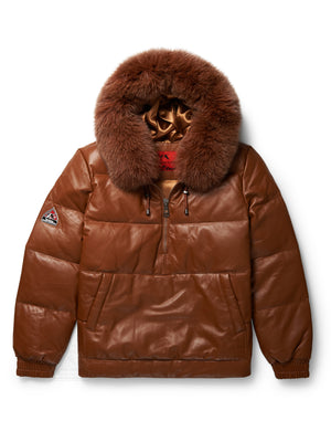 Men's Bubble Vantage Hoodie Cognac w/Fox Fur