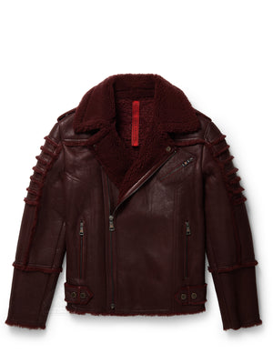 Men's Moto Sheepskin Shearling Jacket Burgundy
