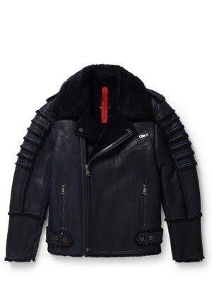 Men's Moto Sheepskin Shearling Jacket Navy
