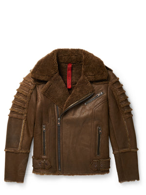Men's Moto Sheepskin Shearling Jacket Olive