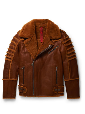 Men's Moto Sheepskin Shearling Jacket Coganc
