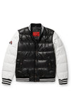 Men's Bubble Varsity Jacket Black/White Leather