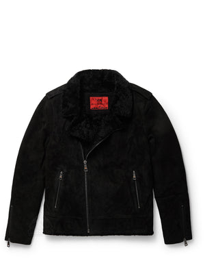 Men's Moto Racer Sheepskin Jacket Black