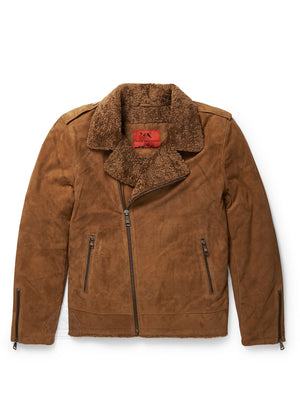 Men's Moto Racer Sheepskin Jacket Tan