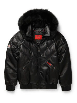 Men's V-Bomber Black w/Hood Black Fox Trim
