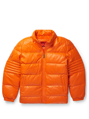 Men's Stunt Orange Bubble Jacket with Zip-Out Hood