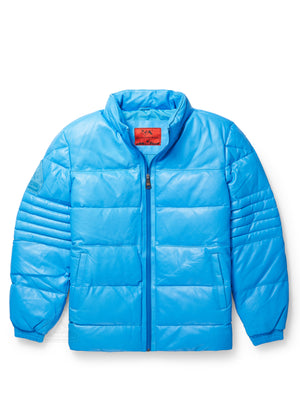 Men's Stunt Blue Bubble Jacket with Zip-Out Hood
