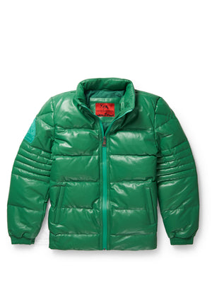 Men's Stunt Green Bubble Jacket with Zip-Out Hood