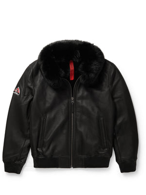 Men's Bomber Sheepskin Shearling Jacket Black