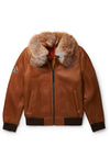 Men's Bomber Sheepskin Shearling Jacket Cognac