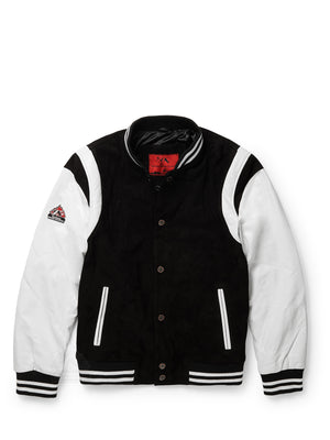 Men's Rockstar Black Suede /White Lambskin Jacket